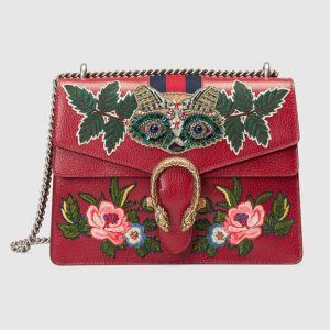 Gucci Red Embroidered Medium Dionysus Shoulder Bag