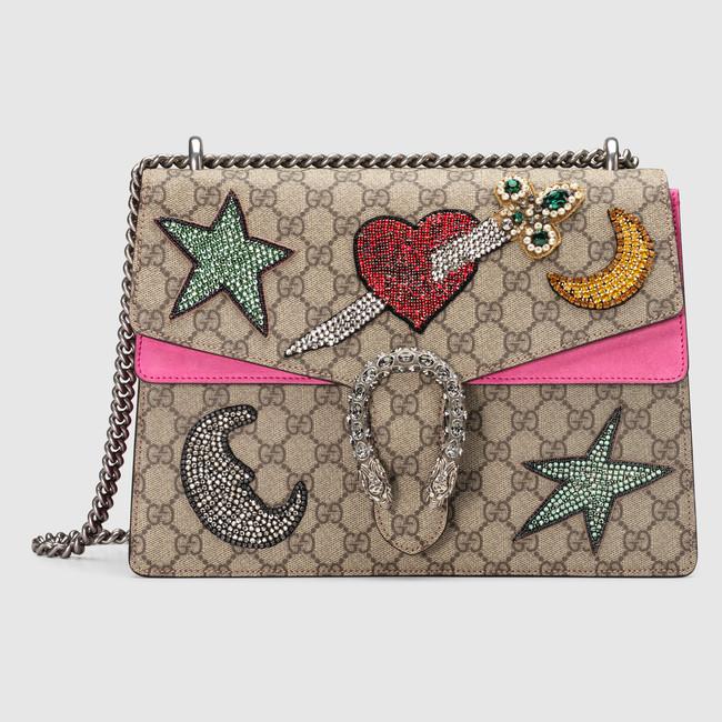 8341ec37e5c Gucci Rhinestone Embroidered GG Supreme Medium Dionysus Bag