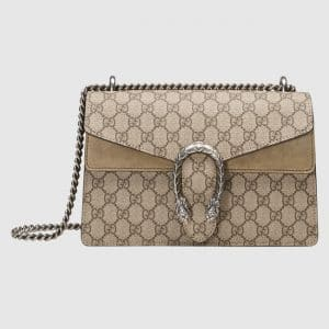 Gucci Taupe GG Supreme Small Dionysus Shoulder Bag
