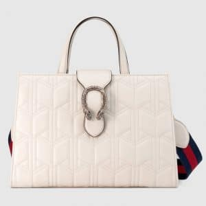 Gucci White Matelasse Dionysus Large Top Handle Bag
