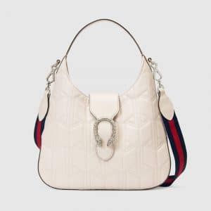 Gucci White Matelasse Dionysus Medium Hobo Bag