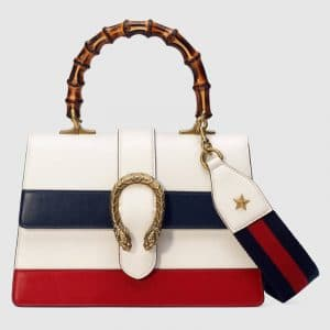 Gucci White/Blue/Red Dionysus Medium Bamboo Top Handle Bag