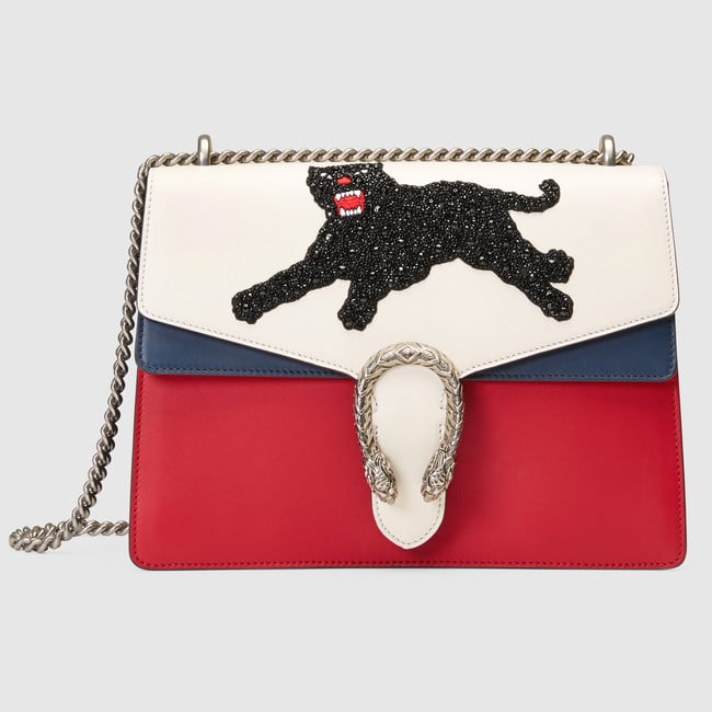 7a8a9830a591 Gucci White/Red/Blue Panther Embroidered Medium Dionysus Shoulder Bag