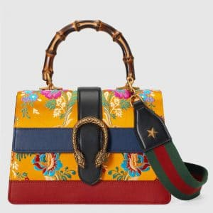 Gucci Yellow Jacquard Floral Dionysus Medium Bamboo Top Handle Bag