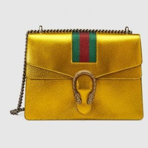 Gucci Yellow Metallic Medium Dionysus Shoulder Bag