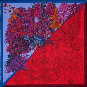 Hermes Les legendes de l'Arbre Coloriage Silk Twill Scarf 90