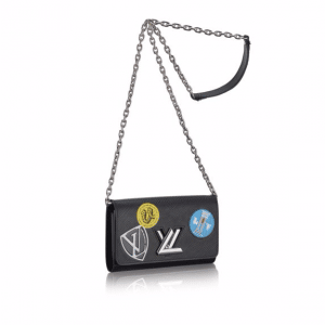 Louis Vuitton Black Epi World Tour Twist Chain Wallet