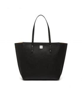 MCM Black Sophie Top Zip Leather Shopper Bag