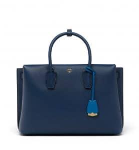 MCM Navy Blue Large Milla Tote Bag