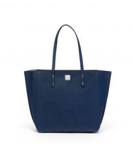 MCM Navy Blue Sophie Top Zip Leather Shopper Bag