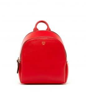 MCM Ruby Red Duchess Polke Studs Backpack Bag