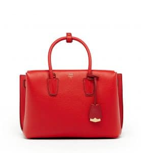 MCM Ruby Red Medium Milla Tote Bag