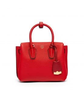 MCM Ruby Red Mini Milla Tote Bag