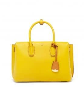 MCM Sahara Yellow Medium Milla Tote Bag