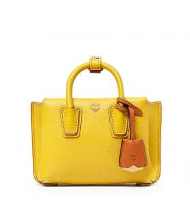 MCM Sahara Yellow Mini Milla Tote Bag