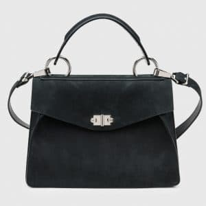 Proenza Schouler Black Suede Medium Hava Top Handle Bag