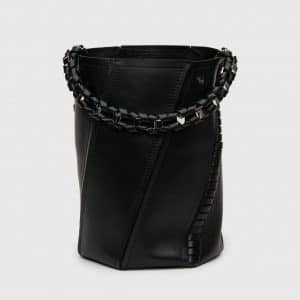Proenza Schouler Black Whipstitch Medium Hex Bucket Bag