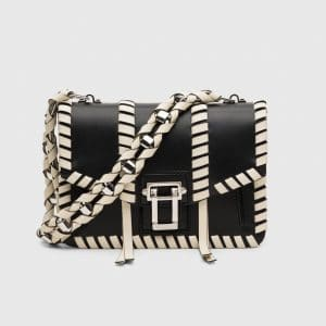 Proenza Schouler Black/Ecru Whipstitch Hava Chain Bag
