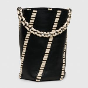 Proenza Schouler Black/Ecru Whipstitch Large Hex Bucket Bag