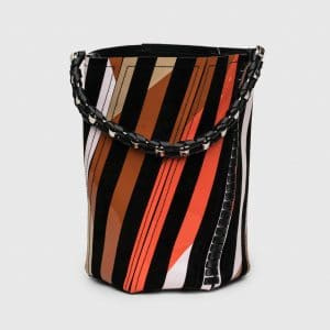 Proenza Schouler Black/Electric Orange Striped Whipstitch Medium Hex Bucket Bag