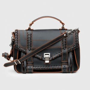 Proenza Schouler Black/Orange Whipstitch PS1 Medium Bag