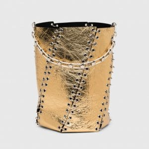 Proenza Schouler Gold Metallic with Grommet Medium Hex Bucket Bag