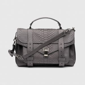 Proenza Schouler Heather Grey Python PS1 Medium Bag