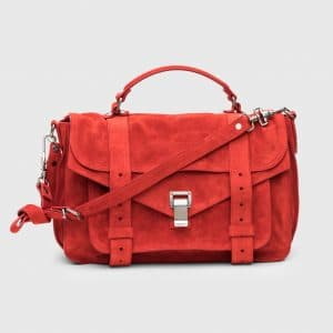 Proenza Schouler True Red Suede PS1 Medium Bag