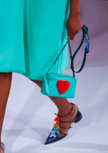 Anya Hindmarch Turquoise with Heart Pattern Camera Bag - Spring 2017