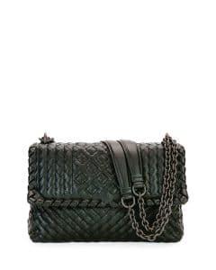 Bottega Veneta Black Intrecciato Small Olimpia Bag