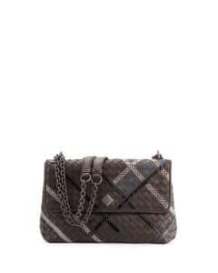 Bottega Veneta Black Intrecciato Snakeskin and Leather Small Olimpia Bag