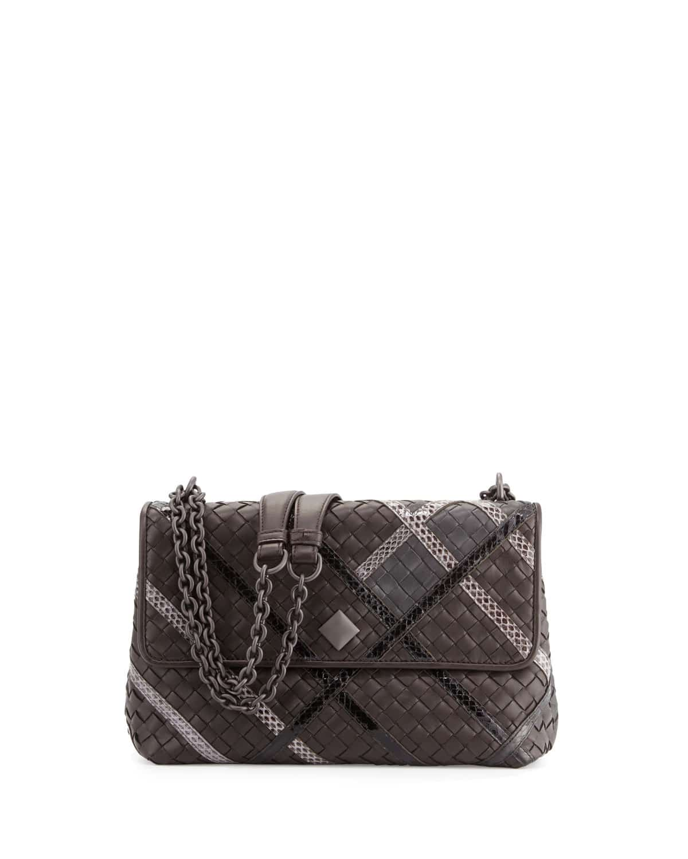 c233ddd58d33 Bottega Veneta Black Intrecciato Snakeskin and Leather Small Olimpia Bag