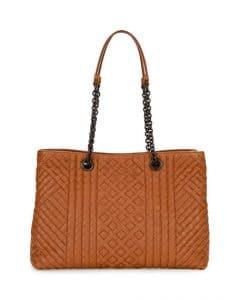 Bottega Veneta Camel Intrecciato Medium Double-Chain Tote Bag