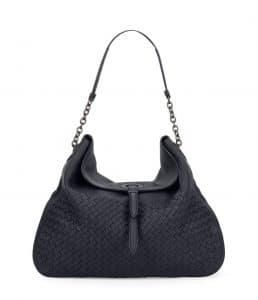 Bottega Veneta Denim Blue Intrecciato Cervo Flap Top Hobo Bag