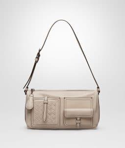 Bottega Veneta Mink Calf Leather with Intrecciato Shoulder Bag