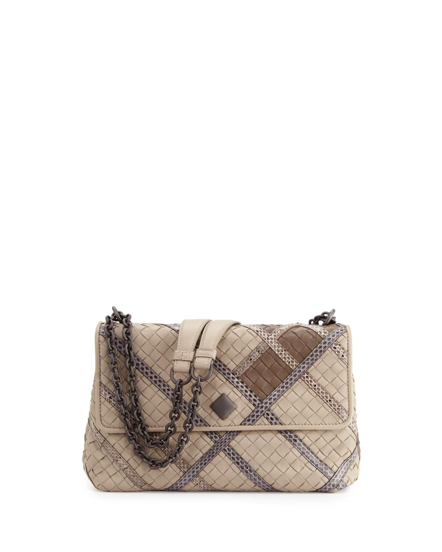8126b3abb712 Bottega Veneta Mist Intrecciato Snakeskin and Leather Small Olimpia Bag