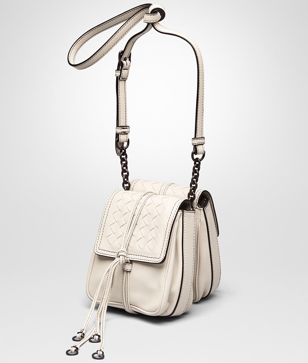 eb459ca9da Bottega Veneta Mist Nappa Intrecciato Double Micro Shoulder Bag