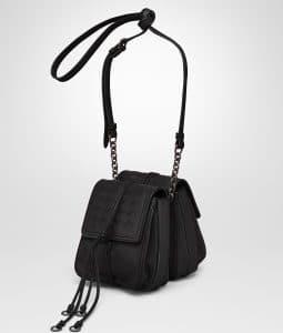 Bottega Veneta Nero Nappa Intrecciato Double Micro Shoulder Bag