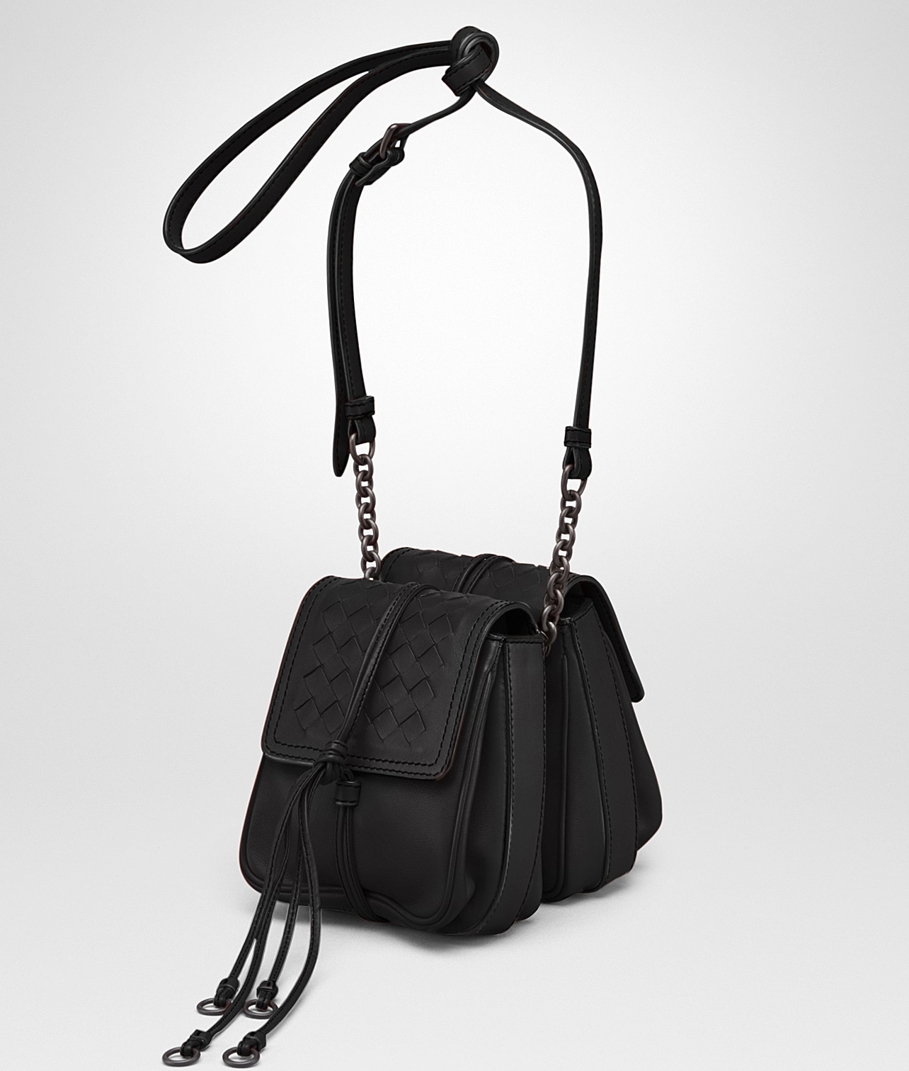 914e58968e72 Bottega Veneta Nero Nappa Intrecciato Double Micro Shoulder Bag
