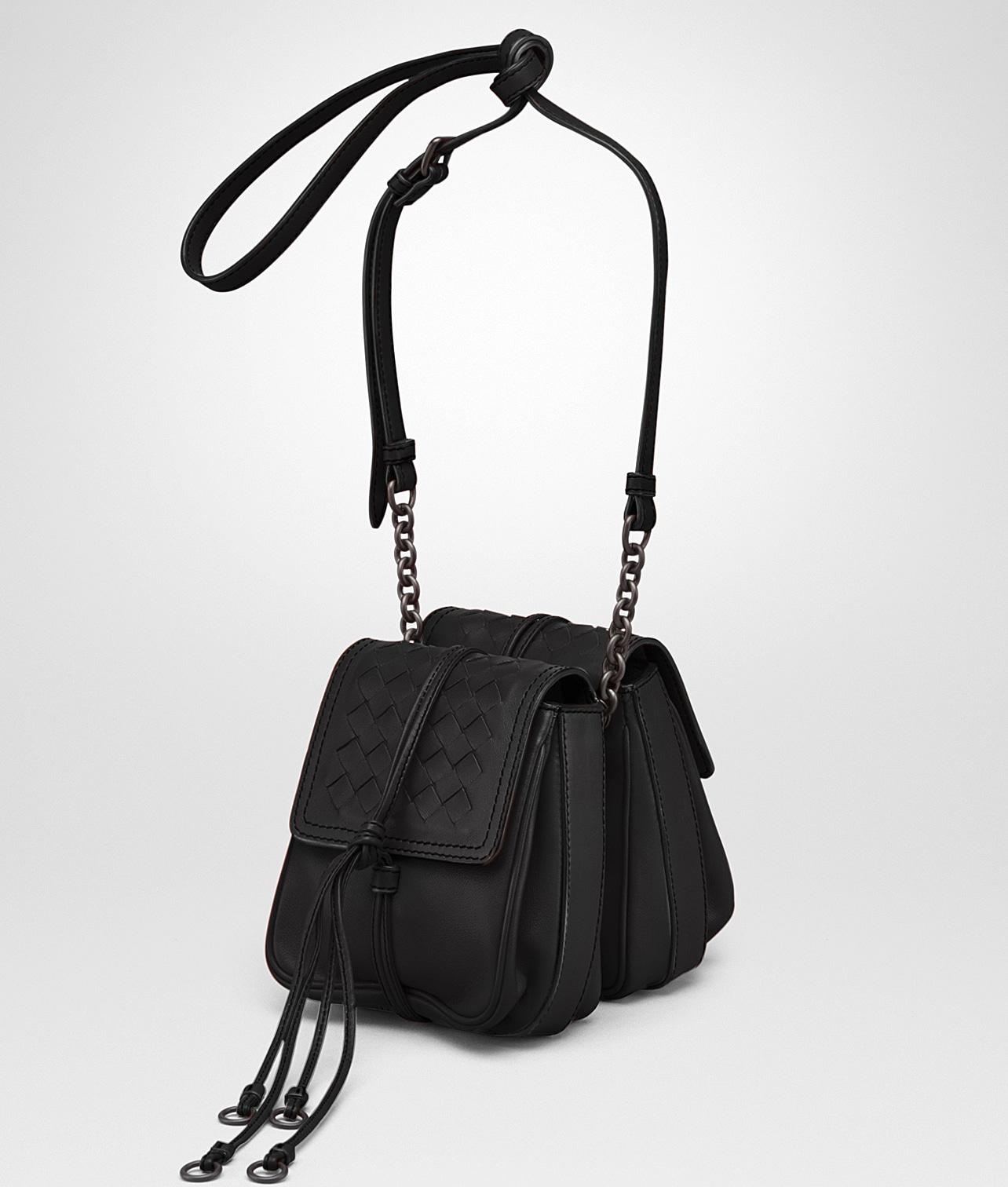 fc3ed4c049 Bottega Veneta Nero Nappa Intrecciato Double Micro Shoulder Bag