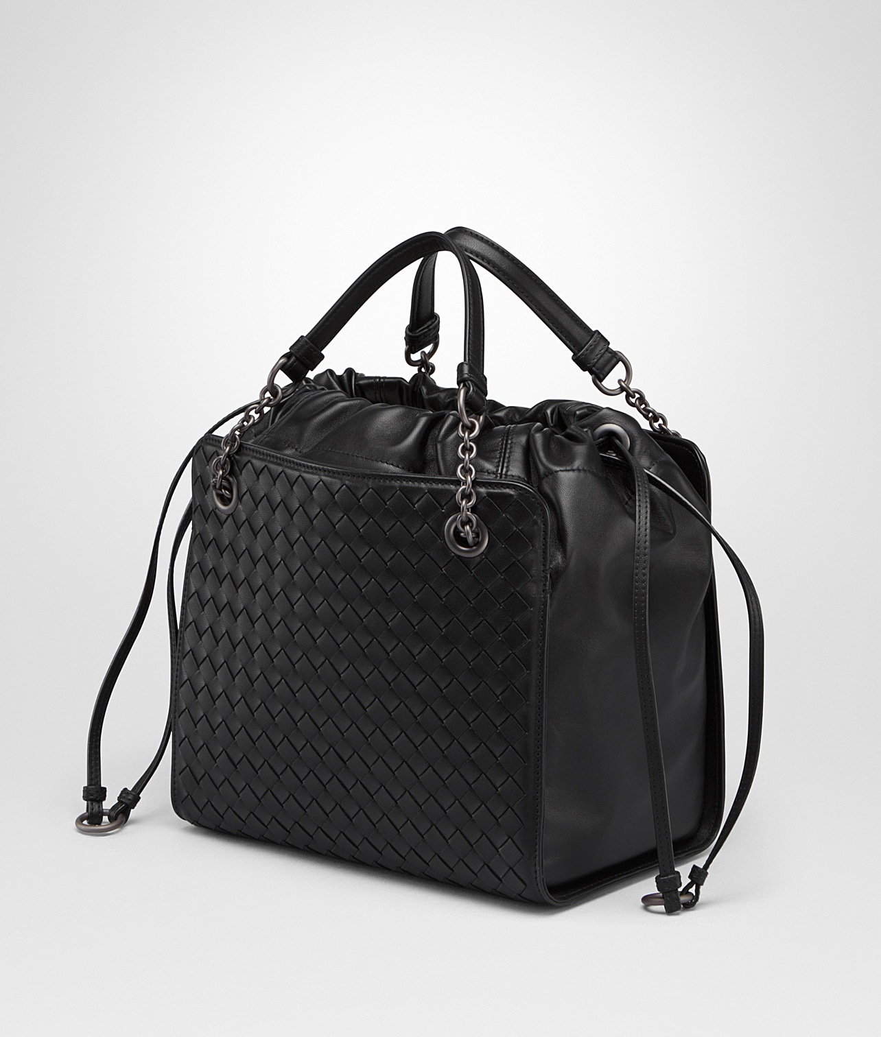 Bottega Veneta Nero Nappa with Intrecciato Small Tote Bag 2995987e69613