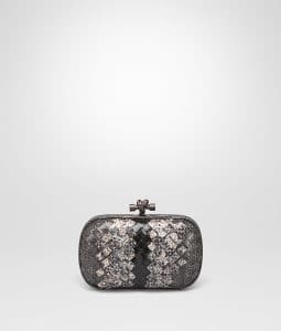 Bottega Veneta New Light Grey Ardoise Intrecciato Ayers Club Leather Knot Clutch Bag