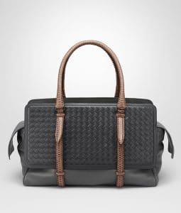 Bottega Veneta New Light Grey/Ardoise Intrecciato Nappa with Rainbow Snake Large Monaco Bag