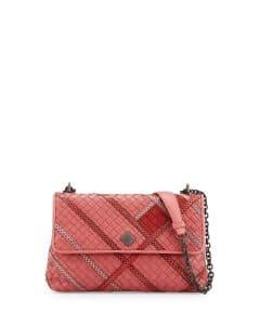 Bottega Veneta Pink Intrecciato Snakeskin and Leather Small Olimpia Bag