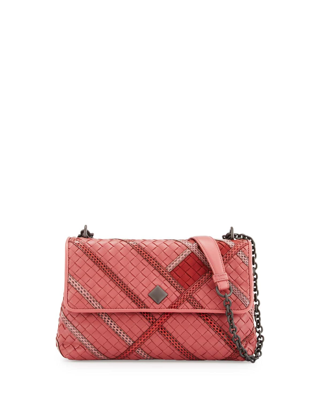 9964652cb6c4 Bottega Veneta Pink Intrecciato Snakeskin and Leather Small Olimpia Bag