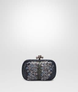 Bottega Veneta Prusse Pacific Intrecciato Ayers Club Leather Knot Clutch Bag