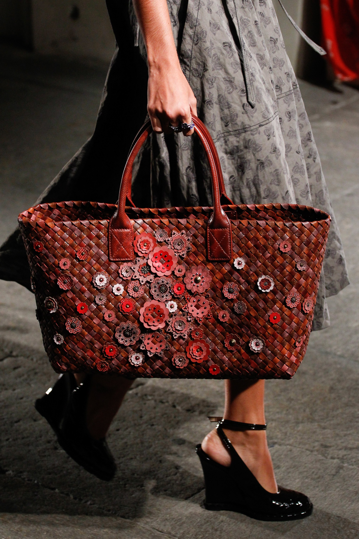 Bottega Veneta Red with Floral Applique Cabat Tote Bag 2 - Spring 2017 1b99ba41c4413
