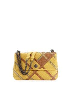 Bottega Veneta Yellow Intrecciato Snakeskin and Leather Small Olimpia Bag