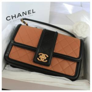 Chanel Beige and Black Elegant CC Flap Bag