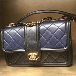 Chanel Navy and Black Elegant CC Flap Bag